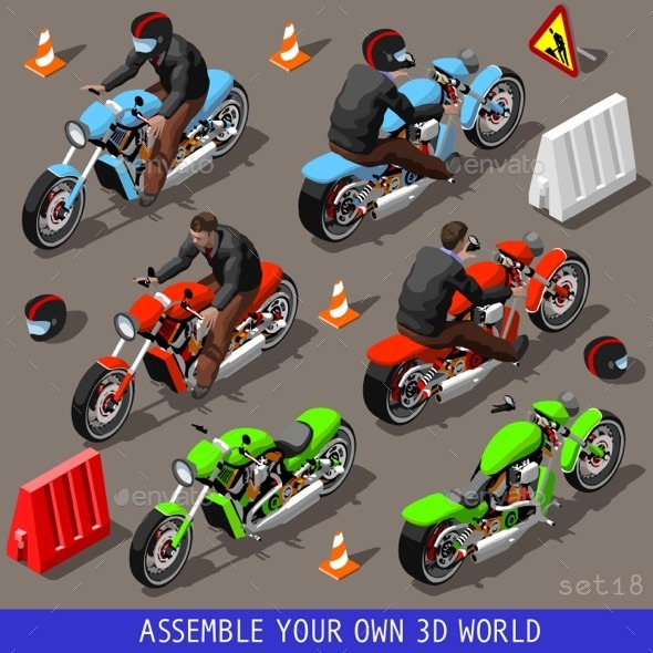 GraphicRiver Isometric Flat 3D Vehicle Motorbikers Set 11422575