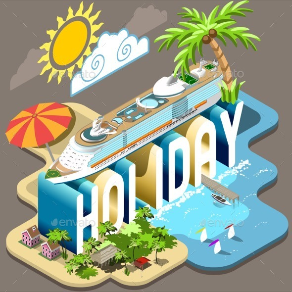 GraphicRiver Cruise Holiday Isometric Postcard Infographic 11422593