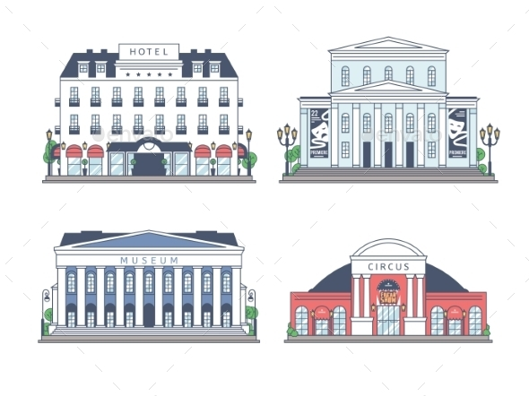 GraphicRiver Set of Buildings on White Background 11423241