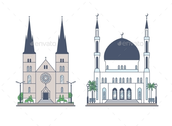 GraphicRiver Religious Building Set 11423245