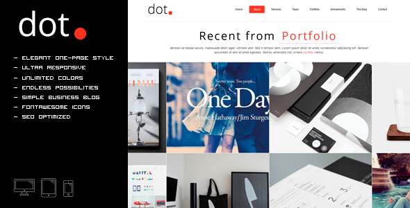 ThemeForest DOT Creative One Page HTML Template 11423382