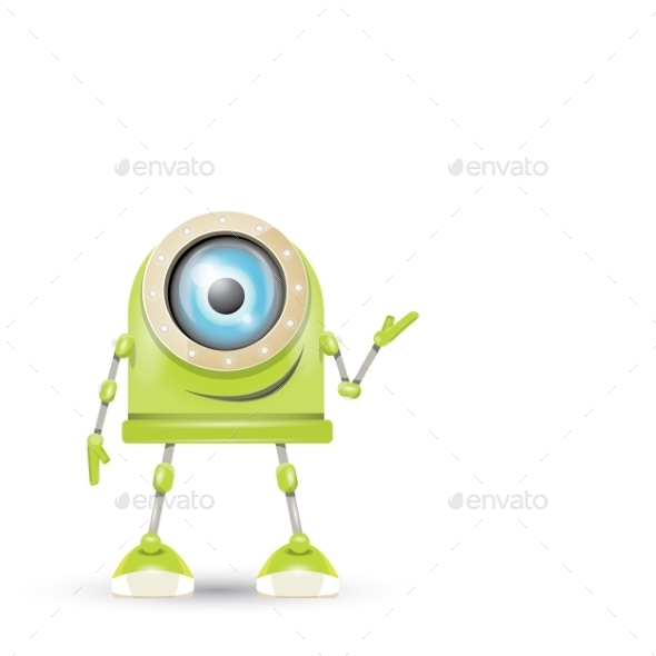 GraphicRiver Vector Green Cartoon Robot Isolated On White 11423410