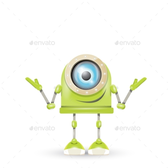 GraphicRiver Vector Green Cartoon Robot Isolated On White 11423415
