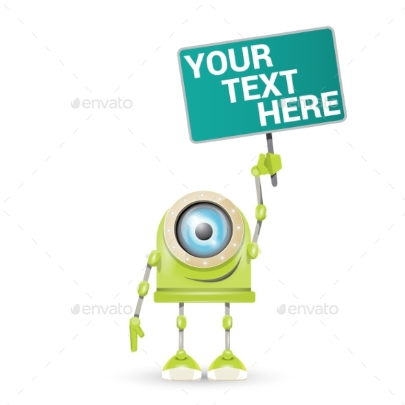 GraphicRiver Vector Green Cartoon Robot Isolated On White 11423417