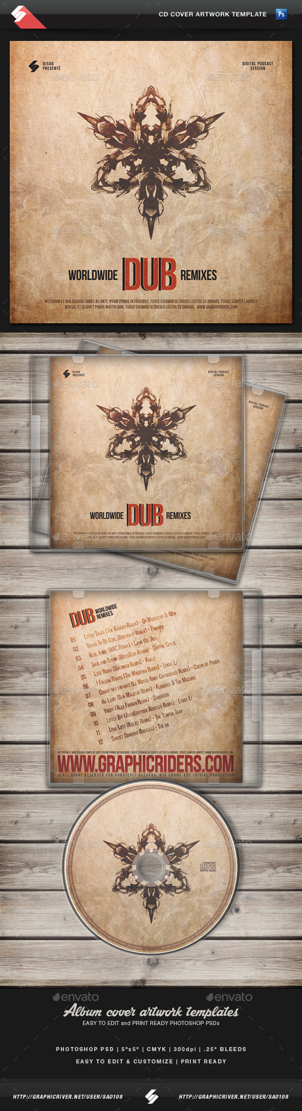 GraphicRiver Dub Remixes CD Cover Artwork Template 11423660