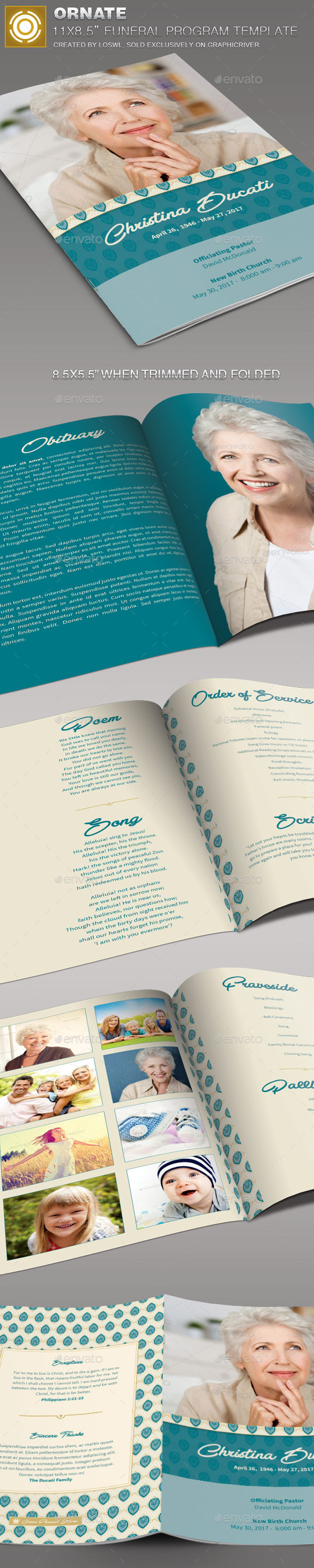 GraphicRiver Ornate Funeral Program Template 11424076