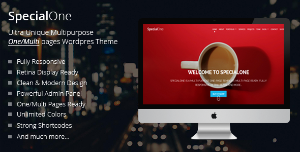 ThemeForest SpecialOne Responsive One Page Multi-Purpose Theme 11424165