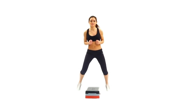 Slim Brunette Young Woman Exercising