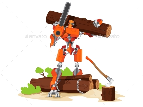 GraphicRiver Robot Woodcutter Character 11424379