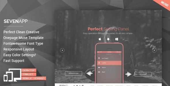 SevenApp - App Landing Page Muse Templates
