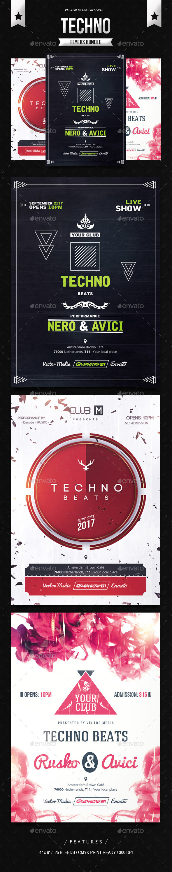 GraphicRiver Techno Flyers Bundle 11424486