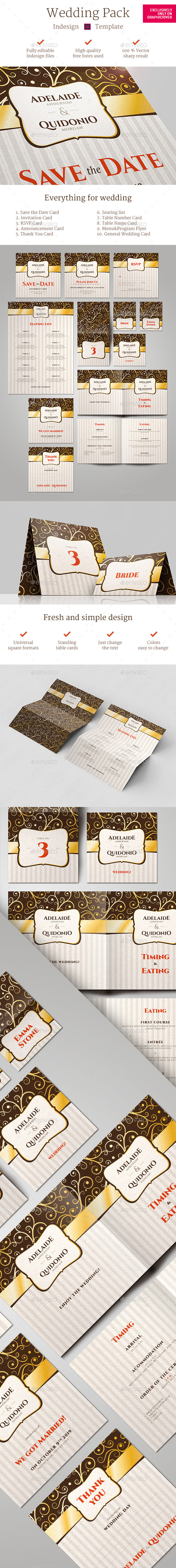 GraphicRiver Gold Ornament Wedding Pack Indesign Template 11424757