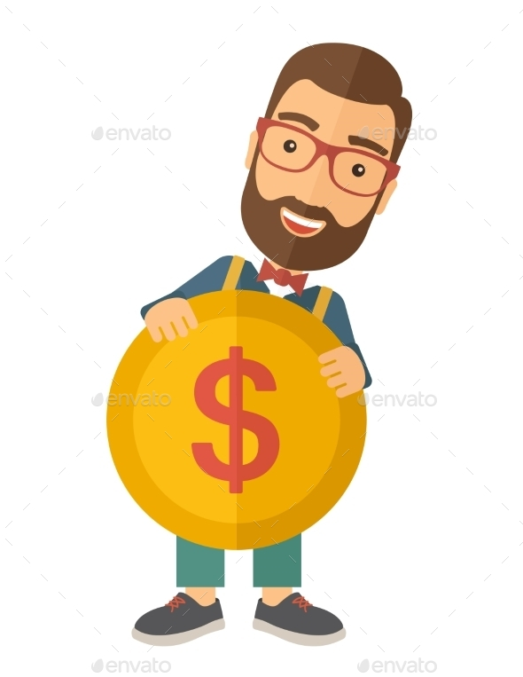 GraphicRiver Businessman Holding a Big Coin 11424780