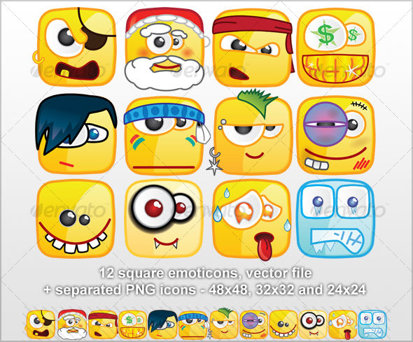 12 Square emoticons III - Miscellaneous Characters