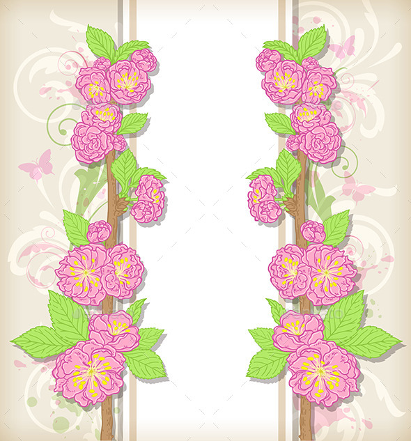 GraphicRiver Floral Card with Peach Flowers 11425078