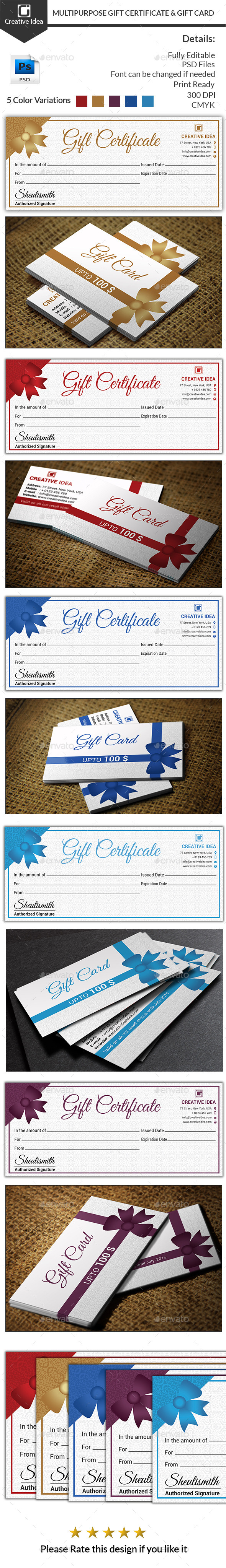 GraphicRiver Multipurpose Gift Certificate And Gift Card 11425081