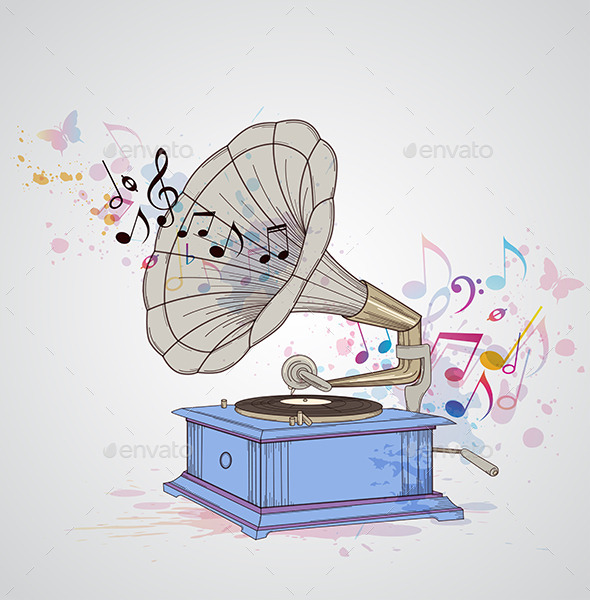 GraphicRiver Music Background with Gramophone 11425199
