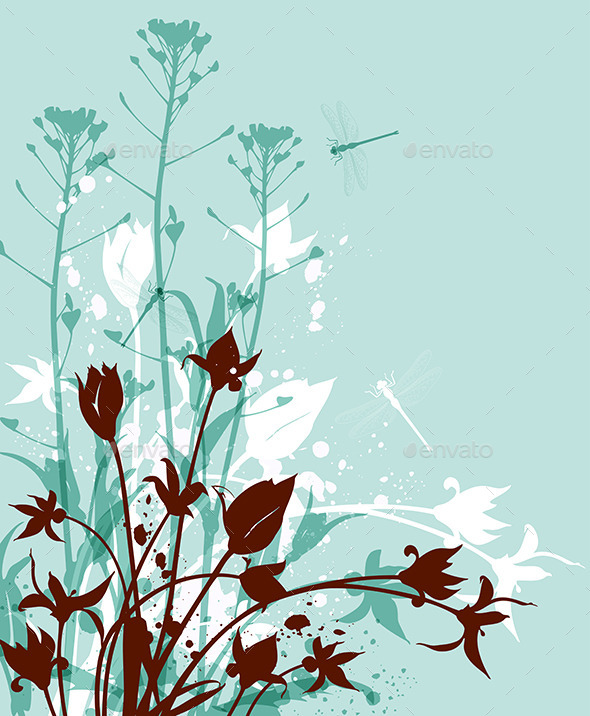 GraphicRiver Green Background with Wildflowers 11425226