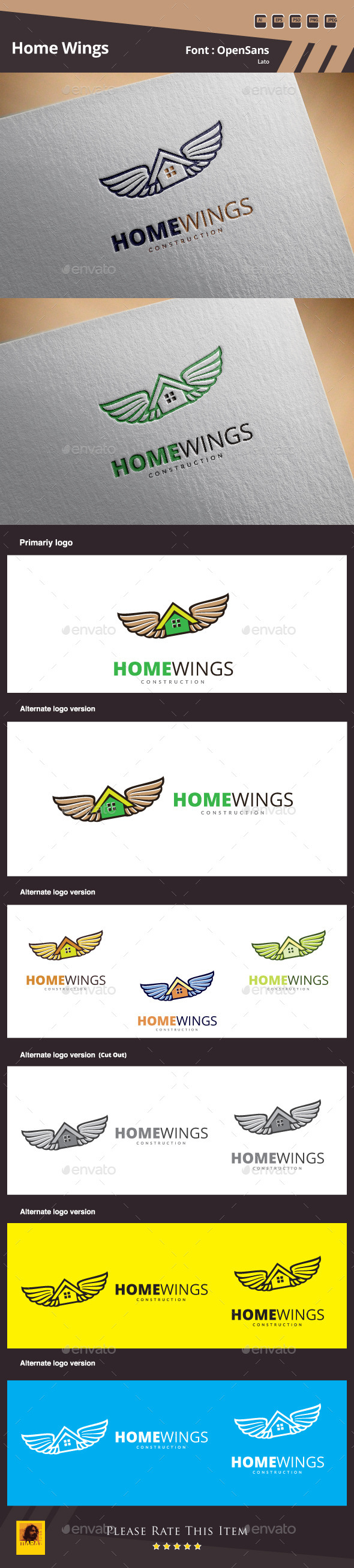 GraphicRiver Home Wings Logo Template 11425270