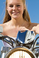 Girl the day of the confirmation on a motorcycle - PhotoDune Item for Sale