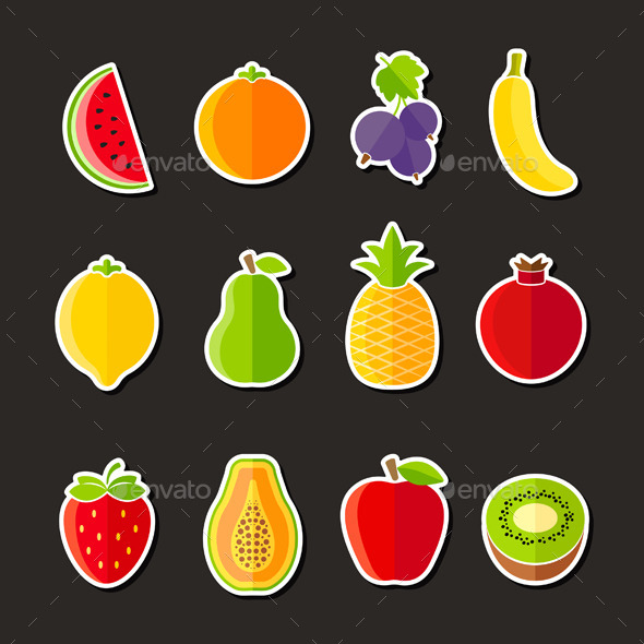 Organic Fresh Fruits on Black Background