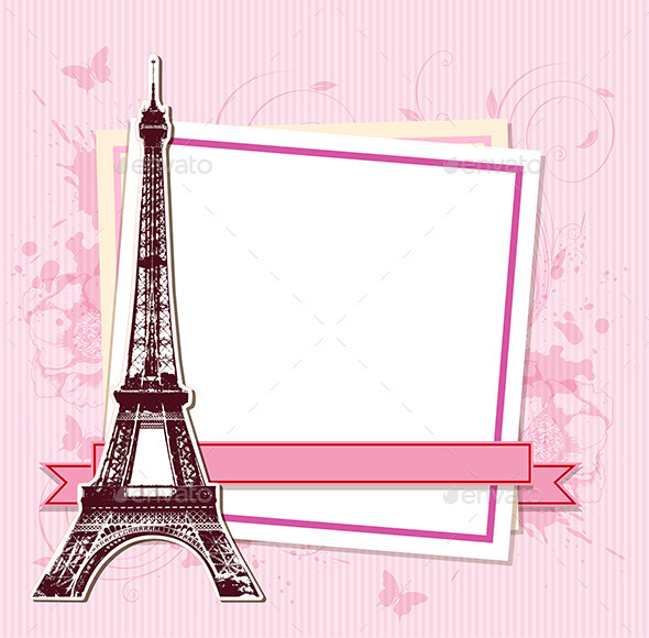 GraphicRiver White Frame with Paris and the Eiffel Tower 11425475