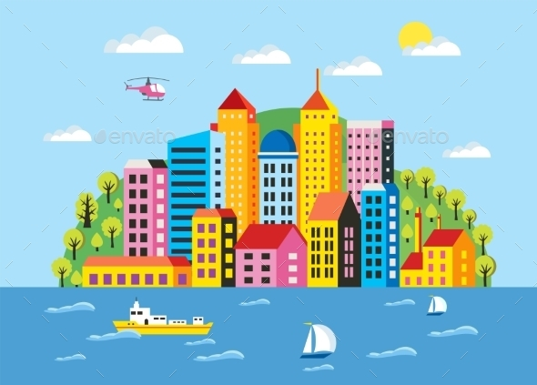 GraphicRiver City Flat Illustration 11425498