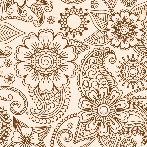 GraphicRiver Henna Mehndi Seamless Pattern 11425554