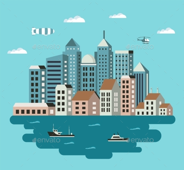 GraphicRiver City Flat Illustration 11425590