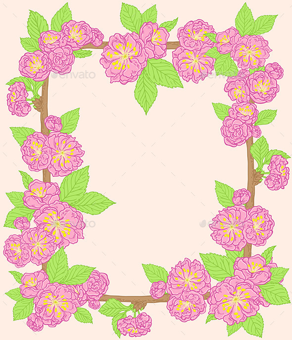 GraphicRiver Frame with Pink Peach Flowers 11425683