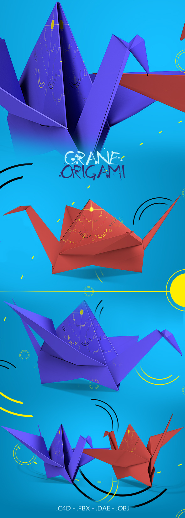 Crane Origami - 3DOcean Item for Sale