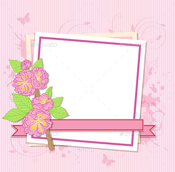 GraphicRiver White Frame with Peach Flowers 11425686