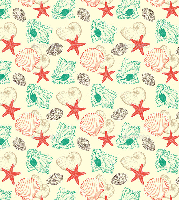 GraphicRiver Seamless Pattern with Sea Shells 11425873