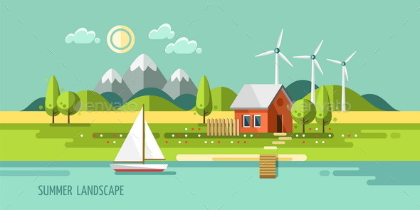 GraphicRiver Summer Landscape House on the Nature 11426187