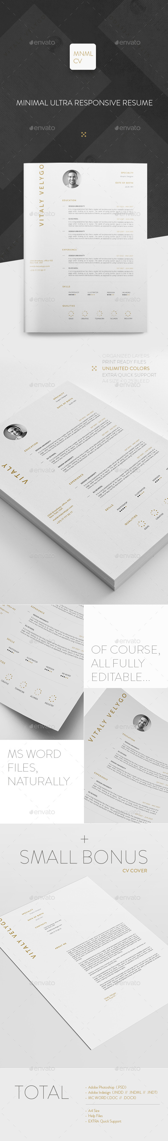 GraphicRiver MNML CV Minimal Clean Resume 11426217