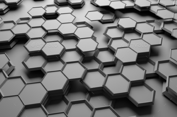 GraphicRiver Abstract 3D Rendering Of Surface With Hexagons 11426354