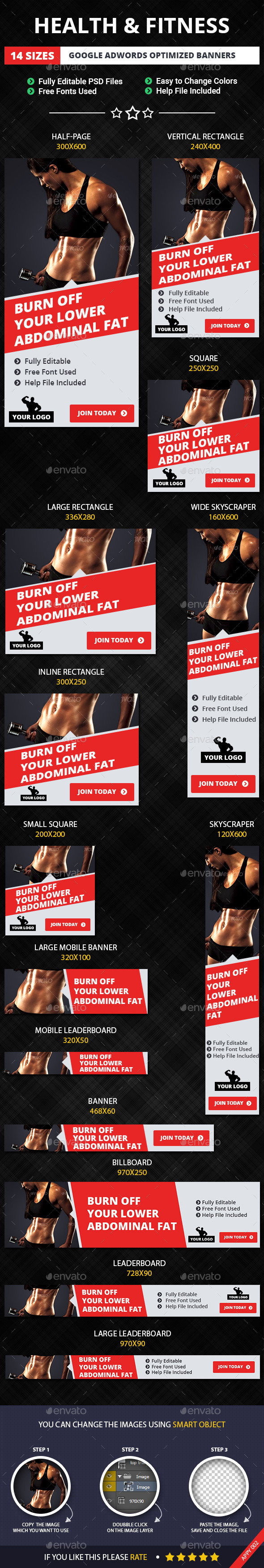 GraphicRiver Health & Fitness Web Banners 11426393