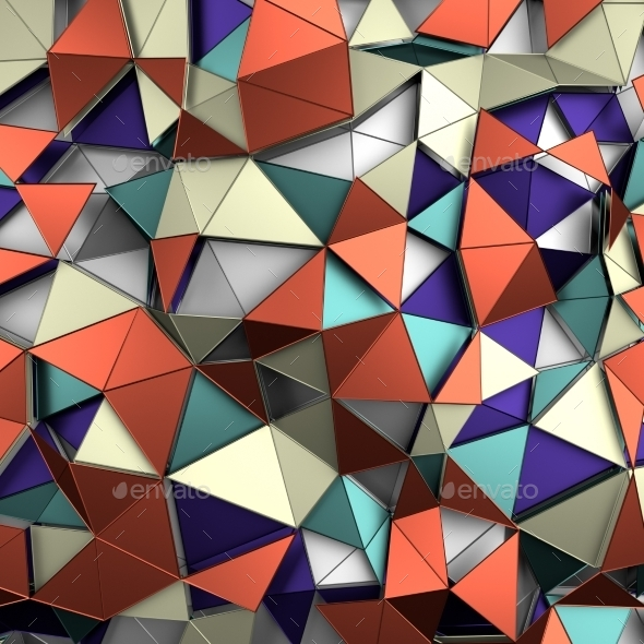 GraphicRiver Abstract 3D Rendering Of Low Poly Colored Surface 11426411