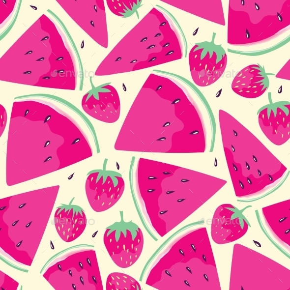 GraphicRiver Watermelon Slices Seamless Pattern 11426445