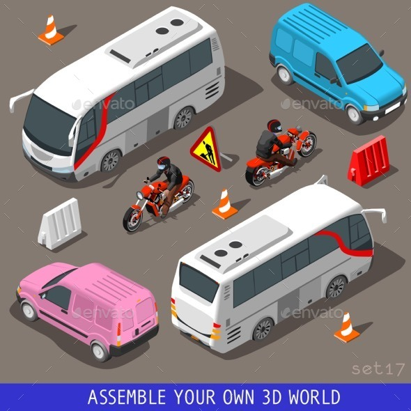 GraphicRiver Isometric Flat 3D Vehicle Tourism Set 11426448
