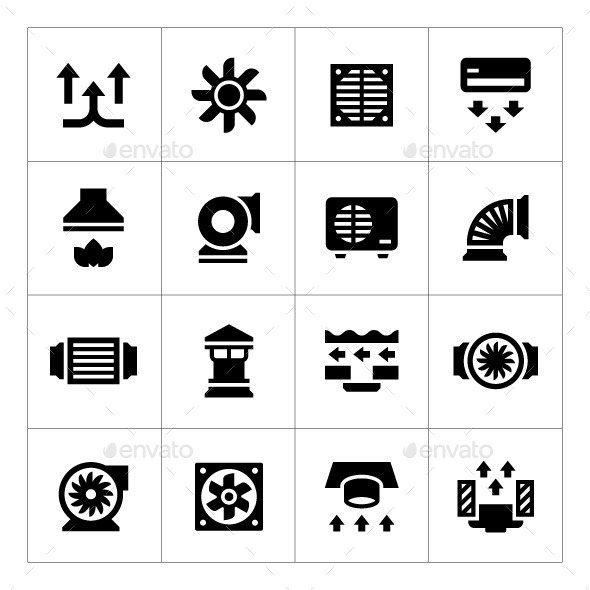 GraphicRiver Set Icons of Ventilation and Conditioning 11426464