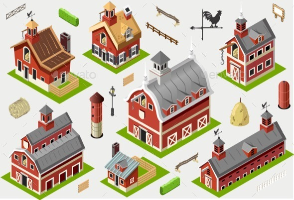 GraphicRiver Isometric Old Building American Barn Set Tiles 11426468