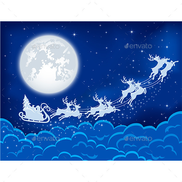 GraphicRiver Santa and Deers in the Sky 11426496