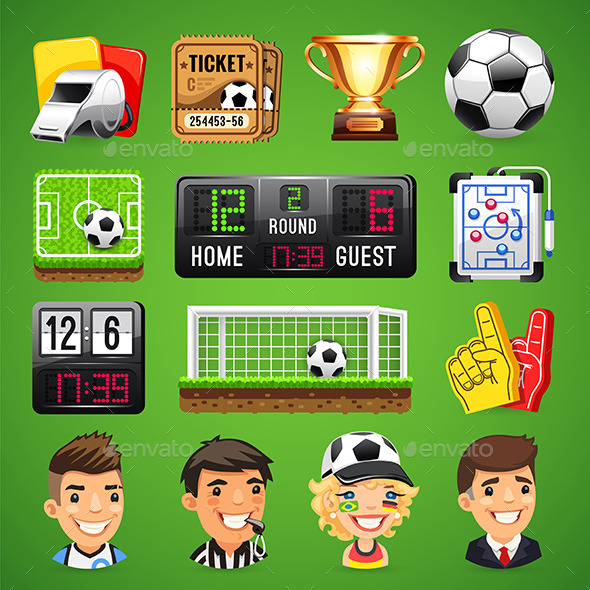 GraphicRiver Vector Icons Set on the Theme of Soccer 11426520
