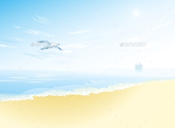 GraphicRiver Seascape With Sea Surface cloudy Sky Seagull 11426581