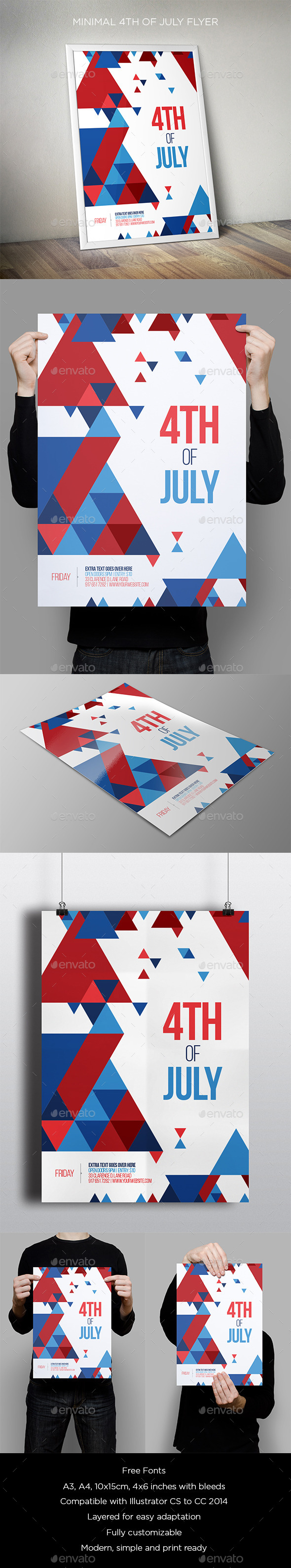 GraphicRiver Minimal 4th Of July Flyer 11426718