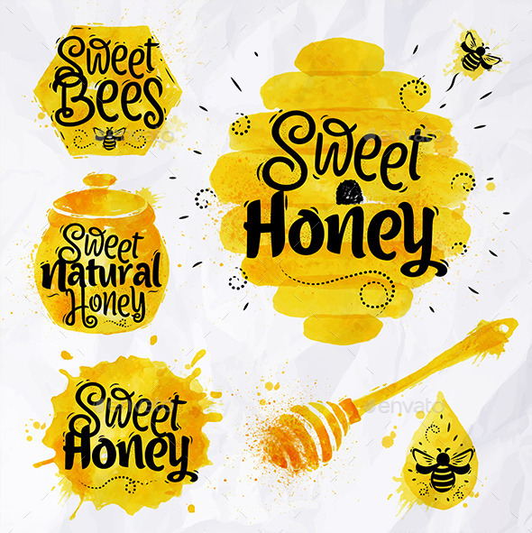 GraphicRiver Watercolors Symbols Honey 11426924
