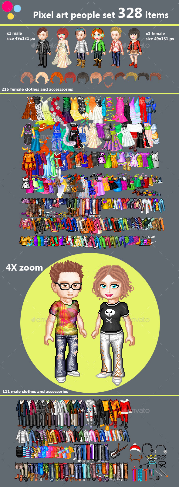 GraphicRiver Pixel art couple character creation set 11427089
