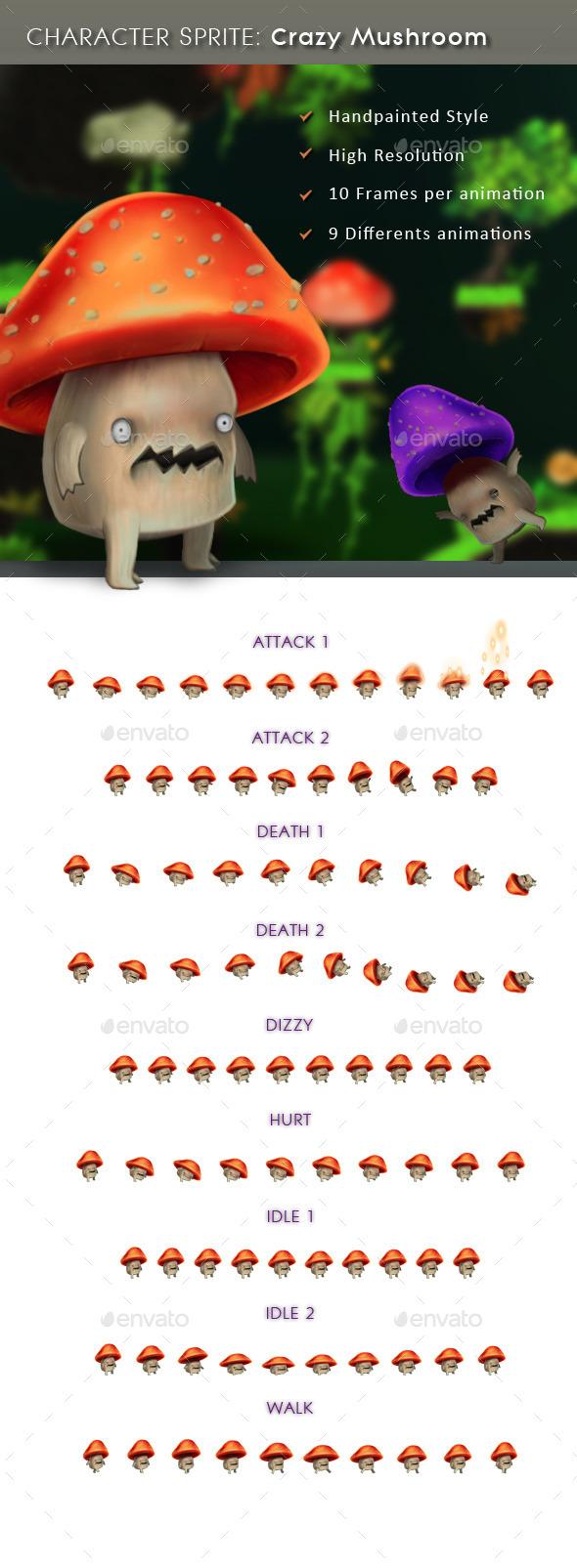 GraphicRiver Character Sprite Crazy Mushroom 11427121
