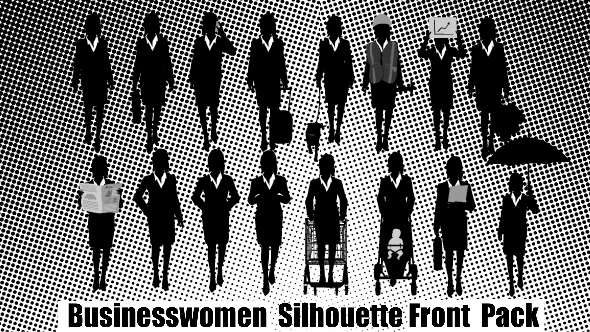 Businesswomen Silhouette Front Pack